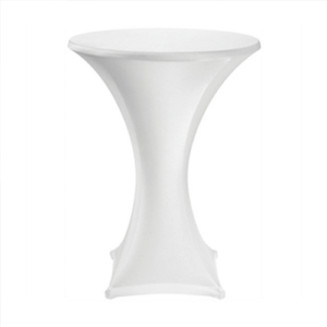 cocktail bar table with white spandex