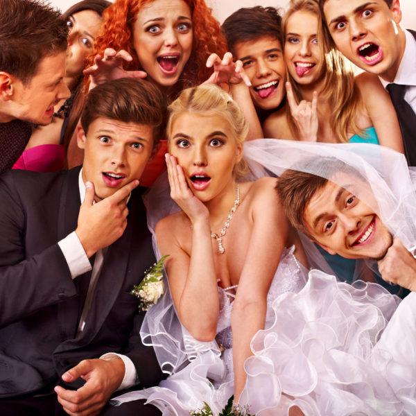 bride and groom in photobooth wedding