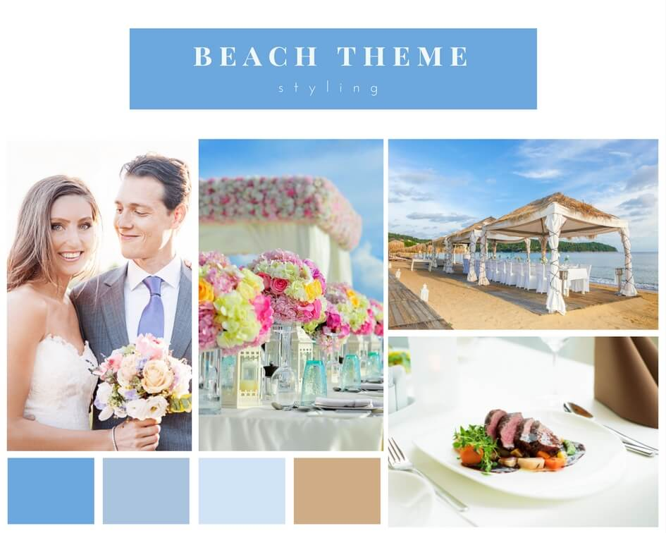 bride and groom getting married on the beach with colour beach theme