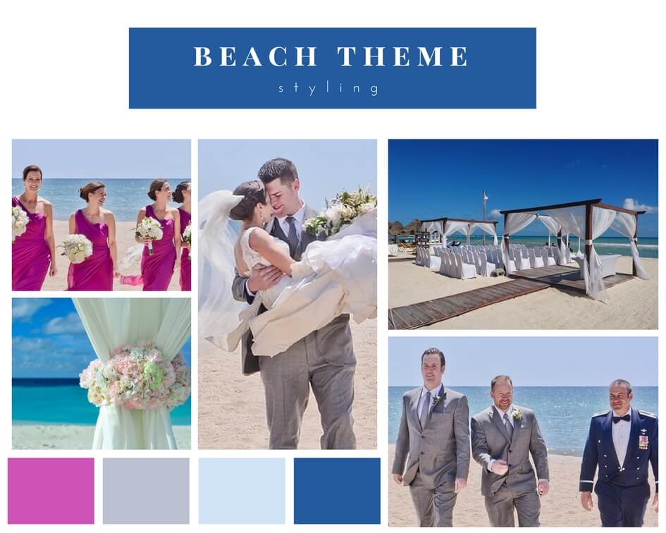 bride and groom getting married on the beach with colour beach theme idea