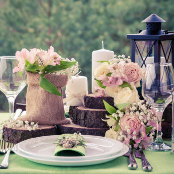 classic rustic events wedding table setting on farm country