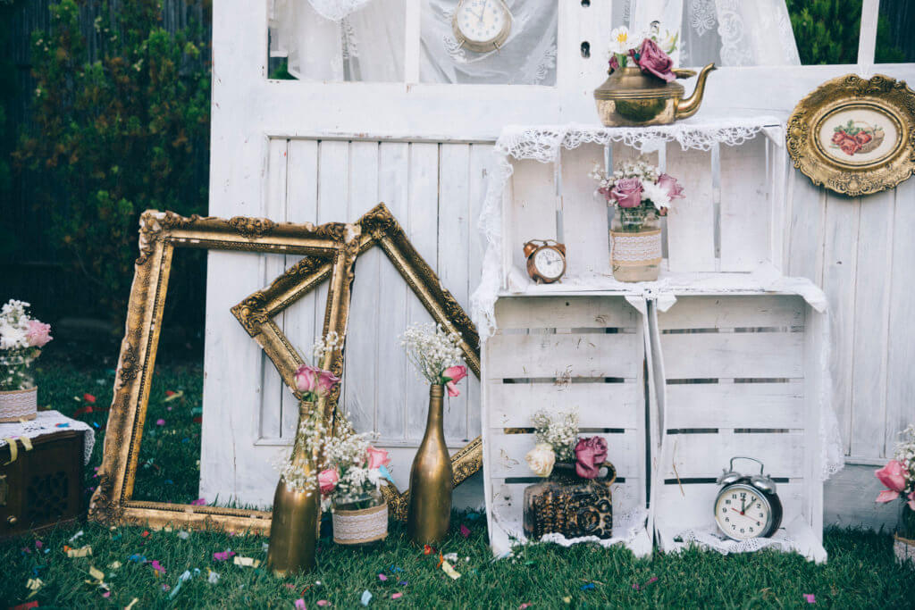 vintage farm decoration for wedding reception events. marriage and love concept in retro style. bridal arrangement.