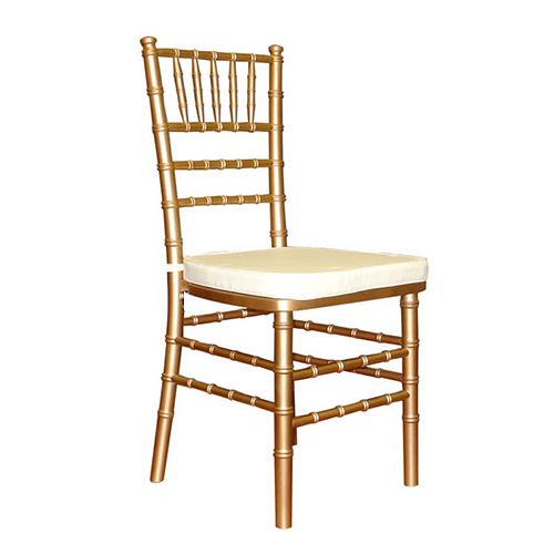 events and wedding gold chiavari chair hire with white cushion