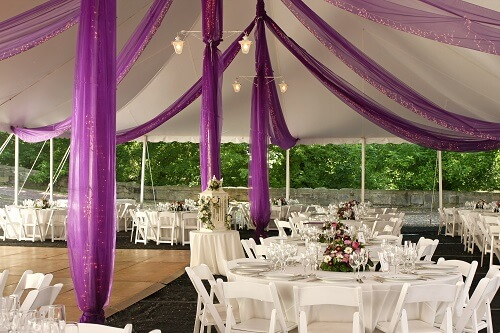 Wedding Reception with purple planned highlights by Host events wedding planners