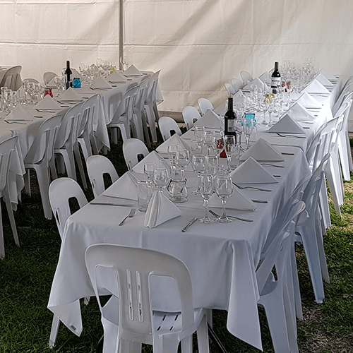 wedding event bistro chair table setting package hire grass marquee napkin linen