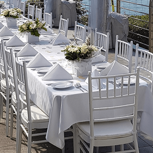 wedding event chiavari chair table setting package hire grass marquee napkin linen