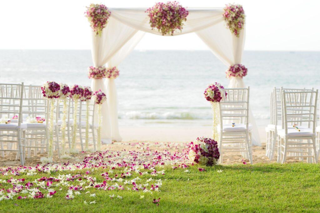 wedding setting on the beach